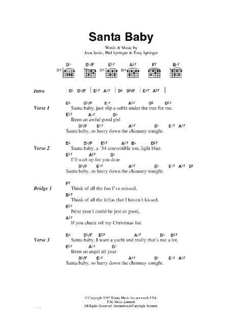 Santa Baby Sheet Music | Eartha Kitt | Lyrics & Chords