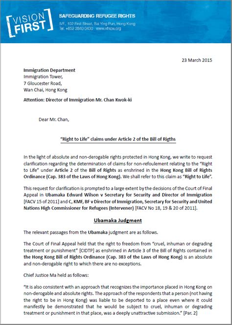 Release Letter From Employer Hong Kong Vision