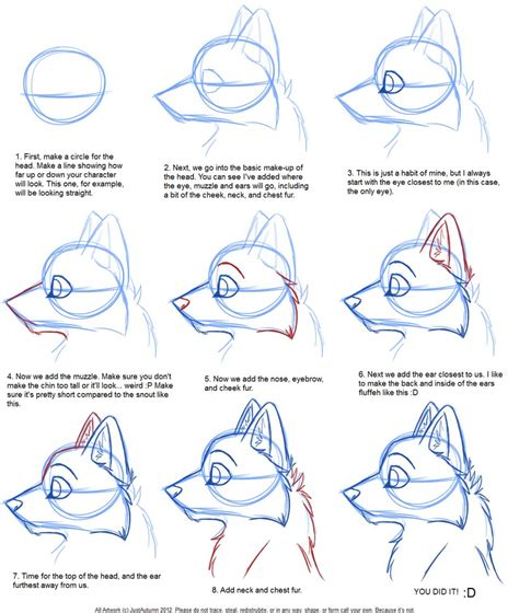 doodle draw tutorial how to draw canine profile tutorial by justautumn on