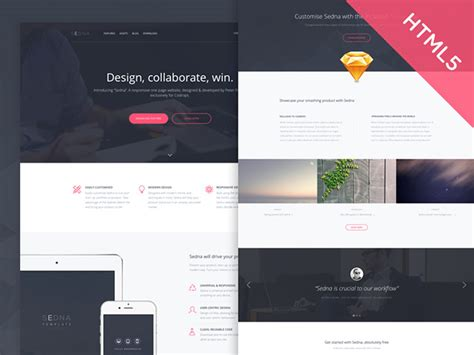 Sedna One Page Website Template Freebiesbug Website Code Template