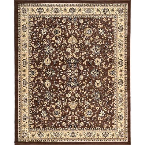 personalized rugs for home unique loom kashan brown 8 ft x 10 ft area rug 3119293 the home depot