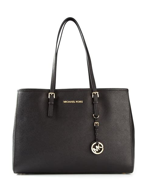 michael michael kors jet set tote bag  black lyst