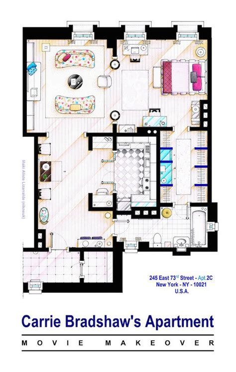 floor plan of friends apartment homes from friends sex and the city translated into