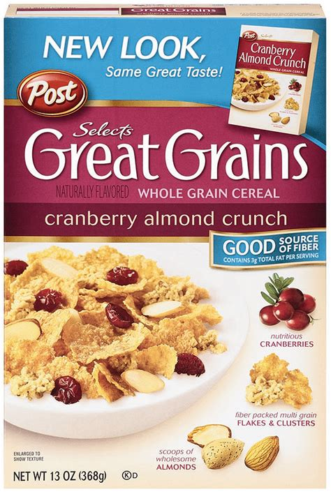 Post Cranberry Almond Crunchpost Cereal great grains cranberry almond crunch nutrition