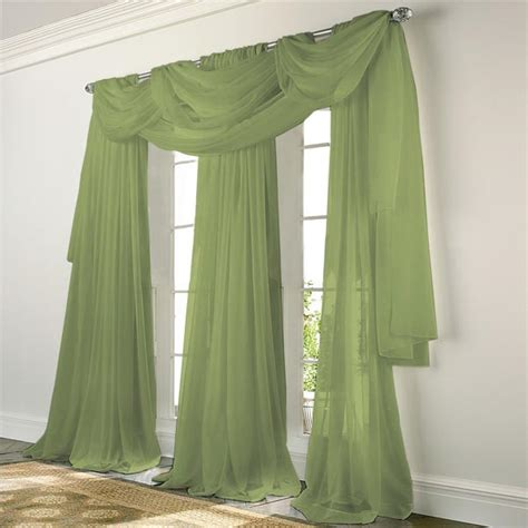 Sheer Green Curtains Elegance Voile Green Sheer Curtain Bedbathhome