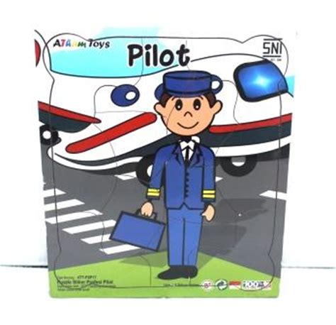 Stiker Kartu Seri Kartun Pusheen Cat puzzle stiker profesi pilot mainan kayu