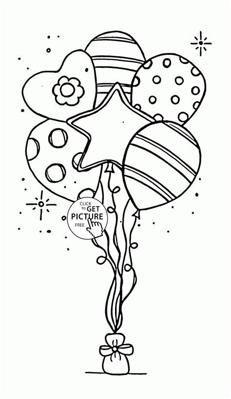 beautiful balloons for birthday coloring page for kids