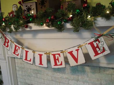 believe banner christmas decorations vintage inspired