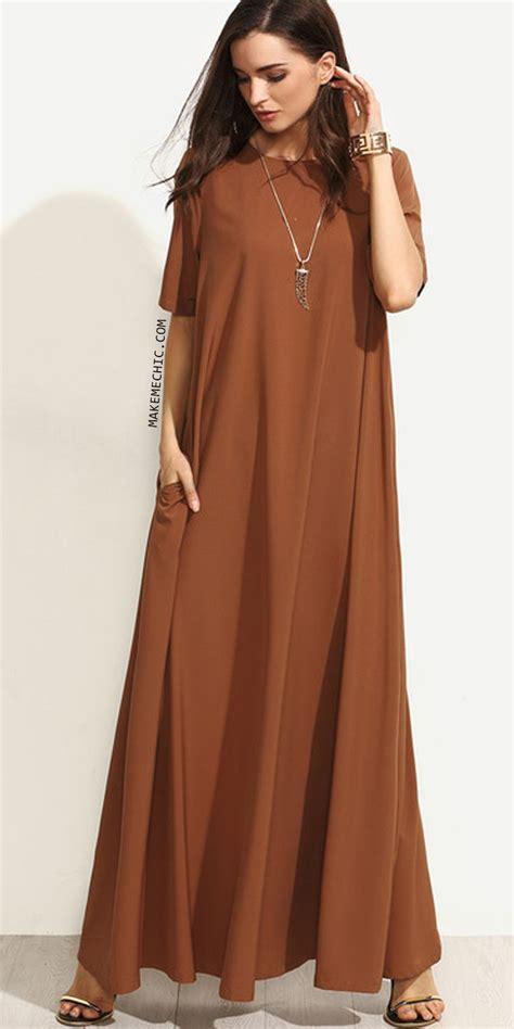 Dress Brown brown sleeve zipper back maxi dress make me chic