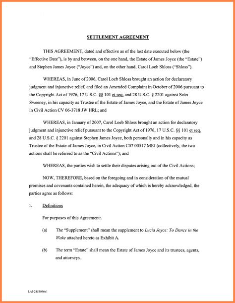 Agreement Letter For Debt 10 Settlement Agreement Marital Settlements Information