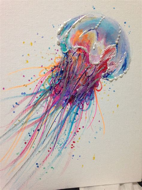 acrylic paint jellyfish acrylic painting colorful jellyfish 8 in by