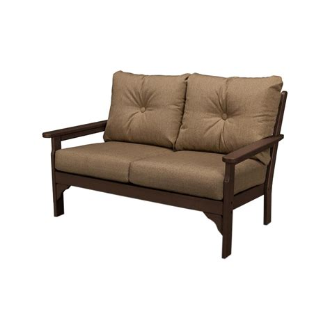 outdoor loveseat cushions polywood vineyard mahogany plastic patio outdoor loveseat
