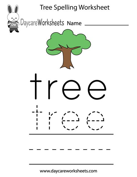 Pre K Spelling Worksheets by Learn And Practice How To Spell The Word Tree Using This