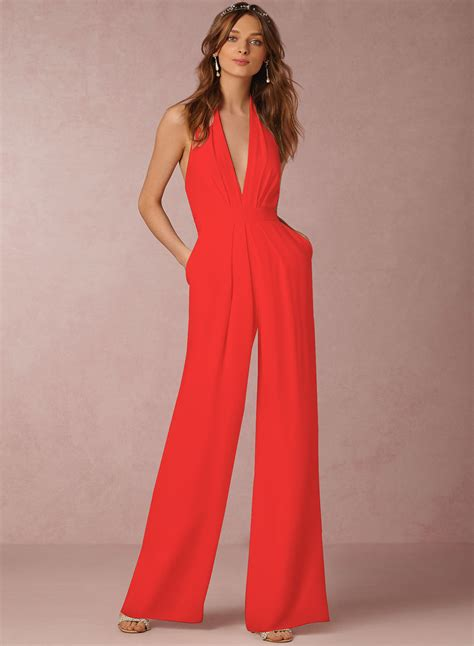 Jumpsuit V Nect fashion halter v neck backless wide leg jumpsuit novashe