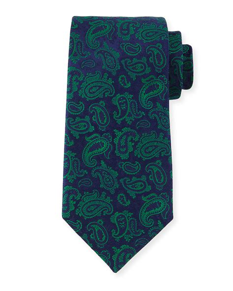 charvet paisley print silk tie in green for lyst