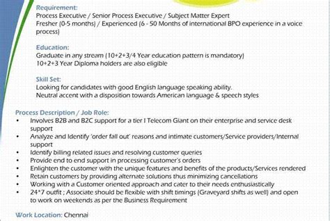 Sle Resume For Kpo Resume Format For Kpo India 28 Images 6 Indian Resume Sles Emt Resume Resume Sle For