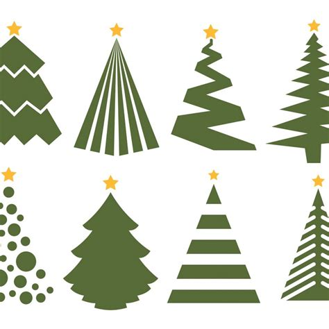 free vector christmas tree vector set on white background