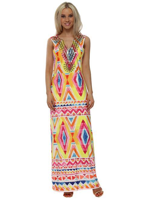 K A Maxy k design dress neon maxi