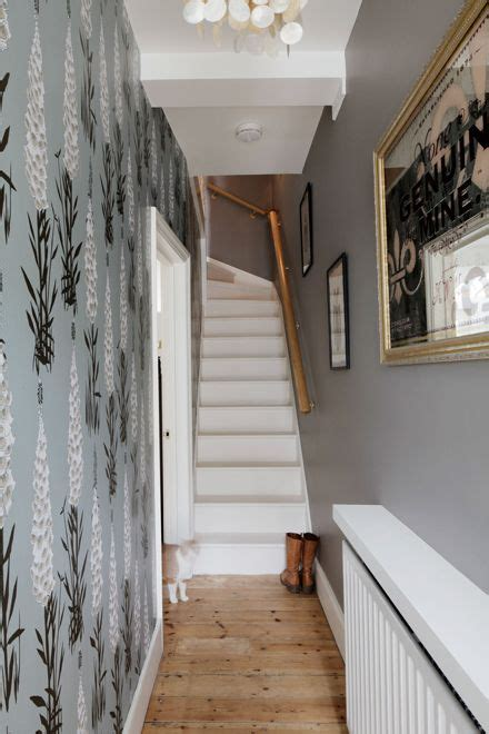 grey wallpaper hallway ideas entrance hallway with suzy hoodless feature wallpaper and