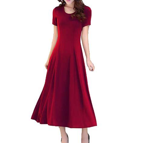 Fresh Color Dress 17054 2017 summer new slim dress sleeve large size modal dress o neck solid color
