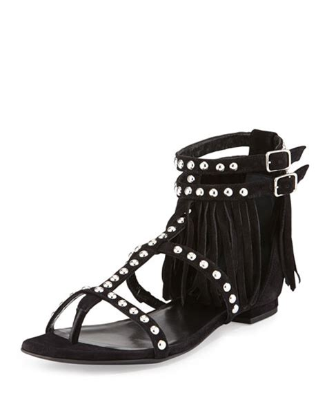 black fringe sandals flat laurent studded fringe leather flat sandal black