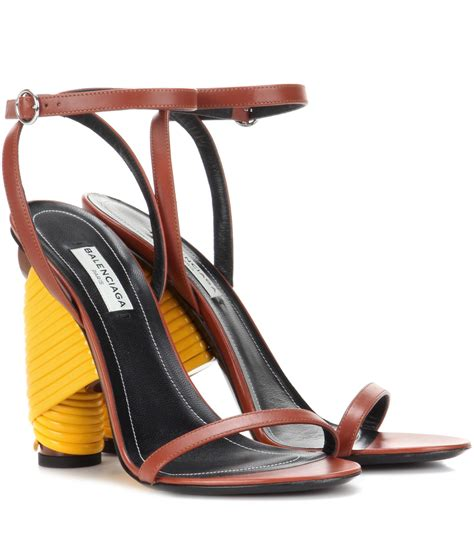lyst balenciaga bistrot leather sandals in blue