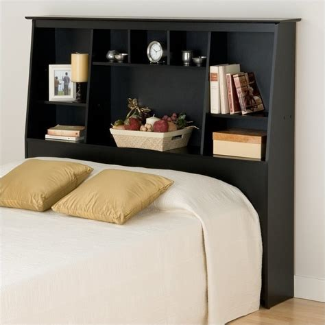 shelf as headboard slant back tall full queen bookcase headboard in black