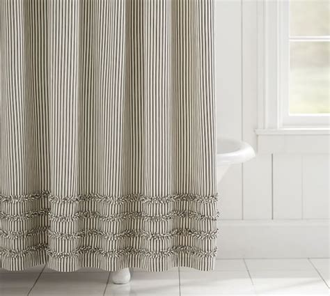 pin striped curtains ticking stripe ruffle shower curtain pottery barn