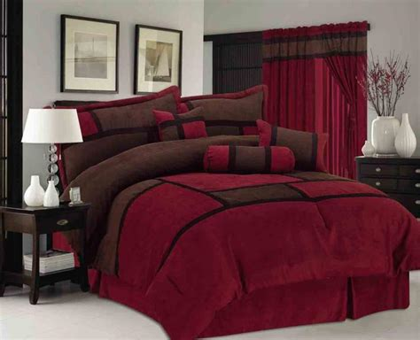 burgundy king comforter 7 pieces micro suede patchwork bed in a bag comforter set