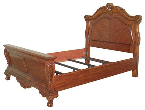 solid mahogany french rococo platform queen bed
