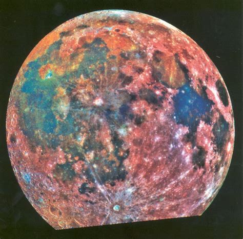false color image false color image of the moon from nasa s galileo spacecraft
