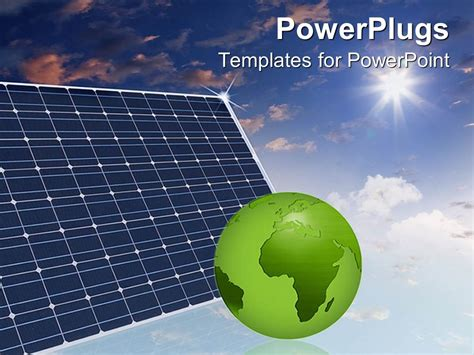 powerpoint template eco friendly solar panels in the sky