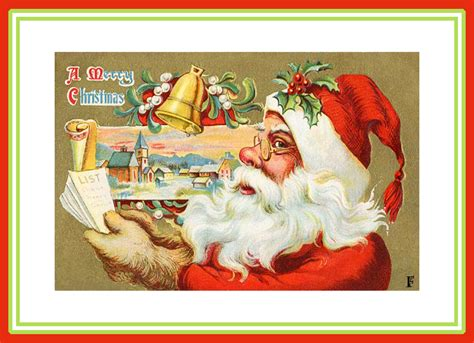 printable santa postcards 7 best images of printable vintage christmas cards free