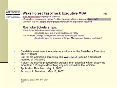 Fast Mba Program by Ppt Candidate Must Meet The Admissions Criteria For The