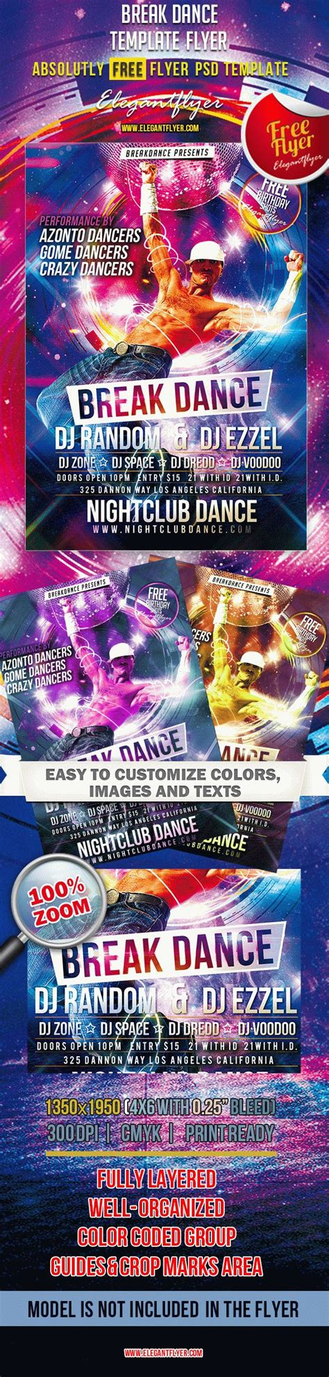 template flyer disco party break dance free club and party flyer psd template by