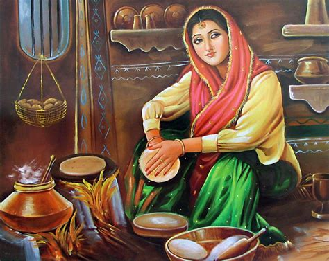 punjabi lady making roti