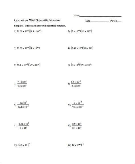 Operations With Scientific Notation Worksheet Answers 10 scientific notation worksheet sle templates
