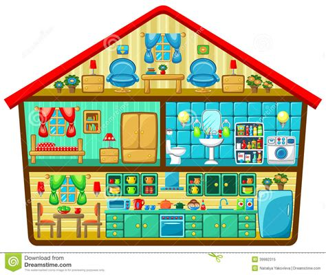 House Flat Design by Cartoon House In A Cut Stock Vector Image 39982315