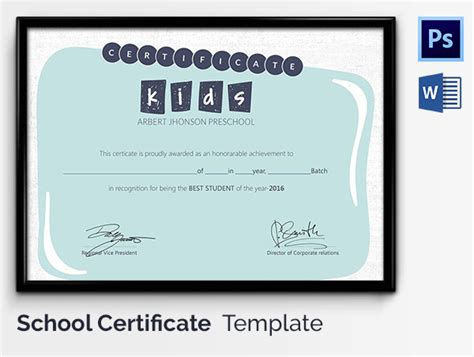 student of the year certificate template school certificate template 17 free word psd format