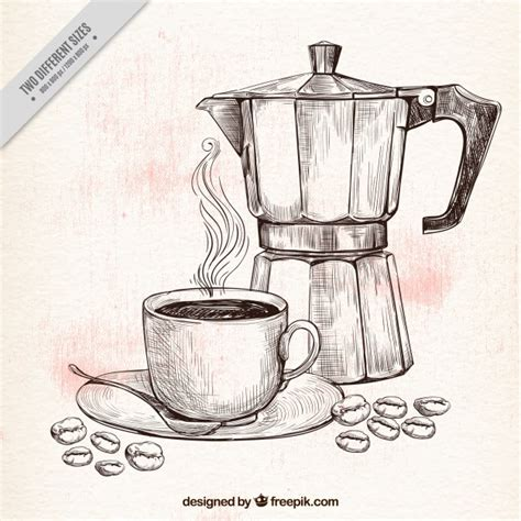 sketch maker coffee pot and cup sketch background vector free