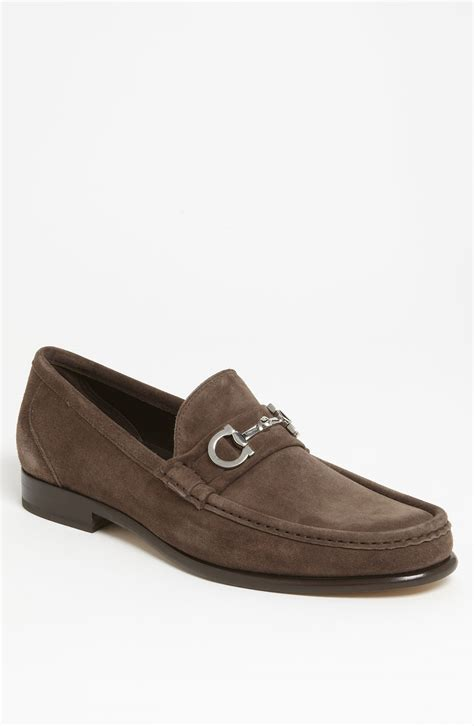 brown suede loafers ferragamo giostra loafer in brown for grey brown