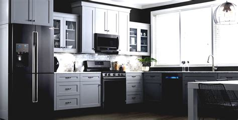 White Kitchen Cabinets Black Appliances Kitchen Cabinets Black Appliances White Painting Paint Painting Kitchen Cabinets Cabinet White