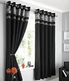 Black And Grey Curtains Black Faux Silk Lined Curtains With Eyelet Ring Top 66 X