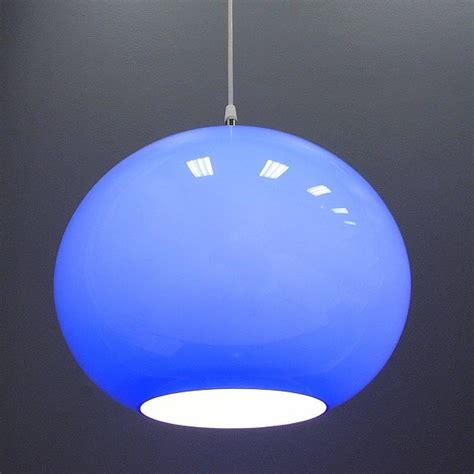 Blue Light Fixtures Vistosi Hanging Blue Murano Glass Globe Light Fixture Pendant At 1stdibs