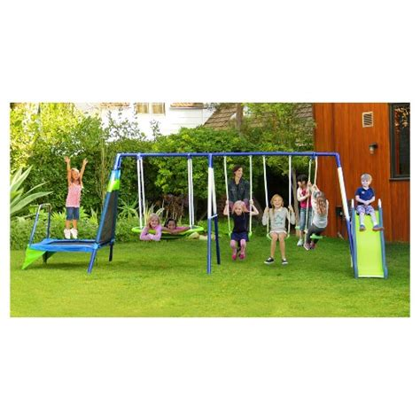 target metal swing sets sportspower mountain view metal swing slide and