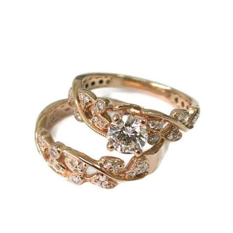 leaves engagement set gold 14k prong setting conflict