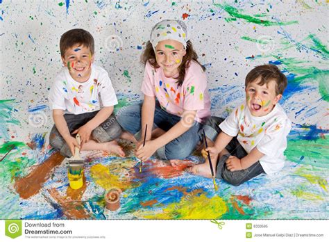 children s painting free children with painting royalty free stock photo