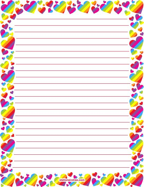 printable heart stationery printable rainbow heart stationery and writing paper
