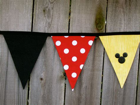 Banner Mickey Mouse Bunting Flag Mickey Mouse minnie or mickey mouse deluxe fabric bunting banner birthday