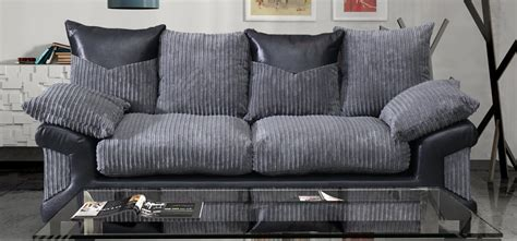 black and grey fabric sofa dino 3 seater monty metropolis black and grey fabric